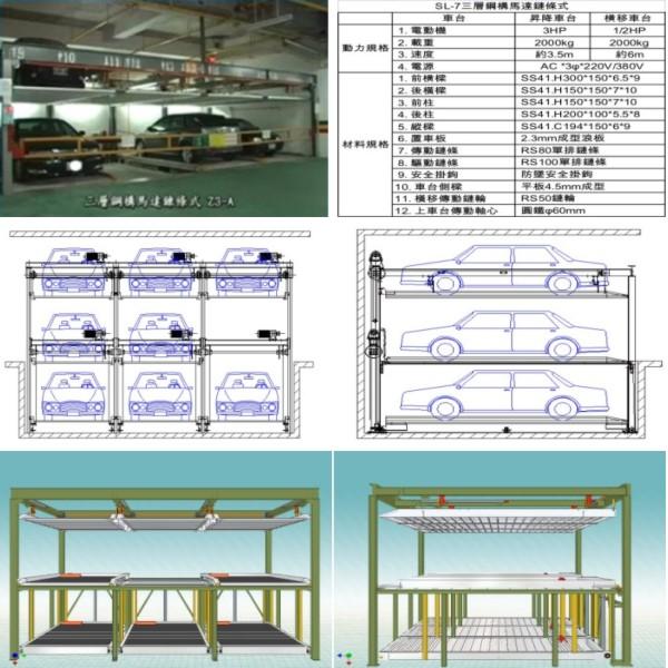 SL-7 三層鋼構馬達鏈條式