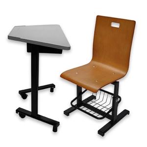 學生梯形課桌椅(活動輪式桌腳)