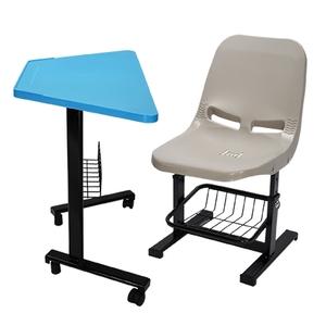 學生梯形課桌椅(有置物網、活動輪式桌腳)