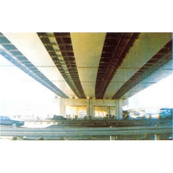 南二高高架橋下方電信鐵架