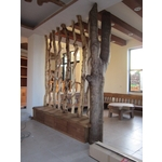 客廳天然樹幹屏風+鞋櫃