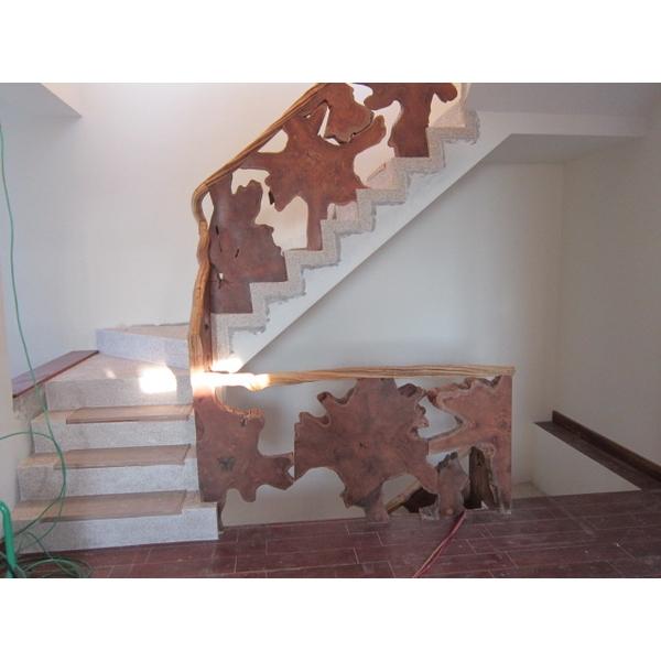 樹根片樓梯欄杆+樹藤扶手-3-振華裝修工程公司-台中