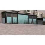 1樓H型鋼鋁採光罩+活動鋁百葉+景觀固定窗