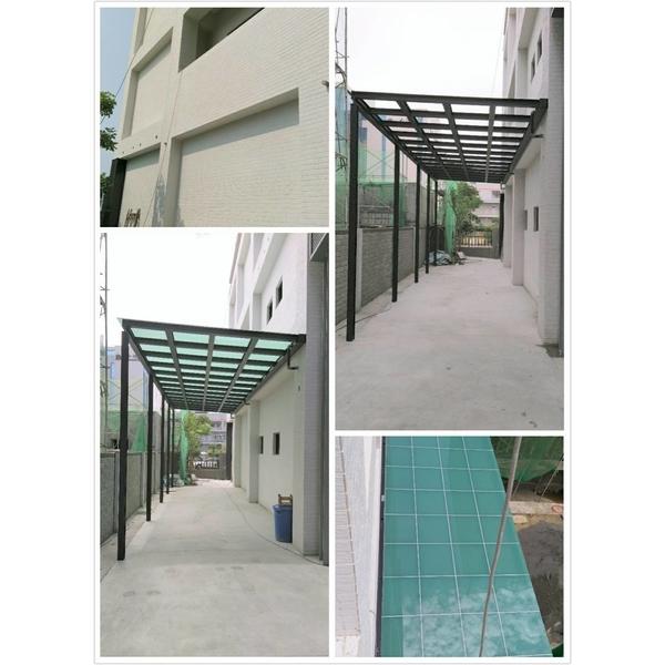 H型鋁合金採光罩+安全膠合玻璃