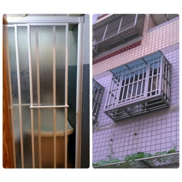 淋浴拉門防盜窗-維信鋁門窗玻璃行-台中