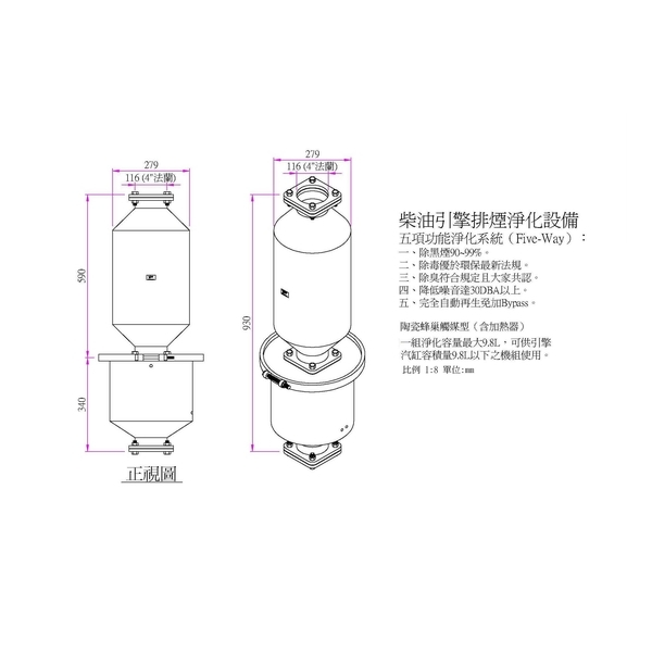 柴油引擎排煙淨化設備-陶瓷蜂巢觸媒型