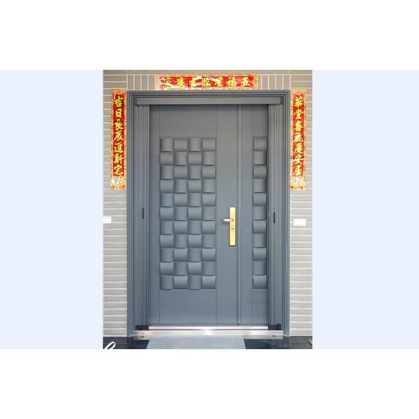 木編瓦鑄鋁子母大門+無軌摺疊紗門-名流建材企業股份有限公司-雲林