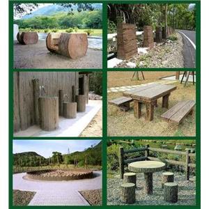 預鑄RC仿木烤肉爐、五連樁、桌椅、路緣石-利澤建材工業有限公司-新北