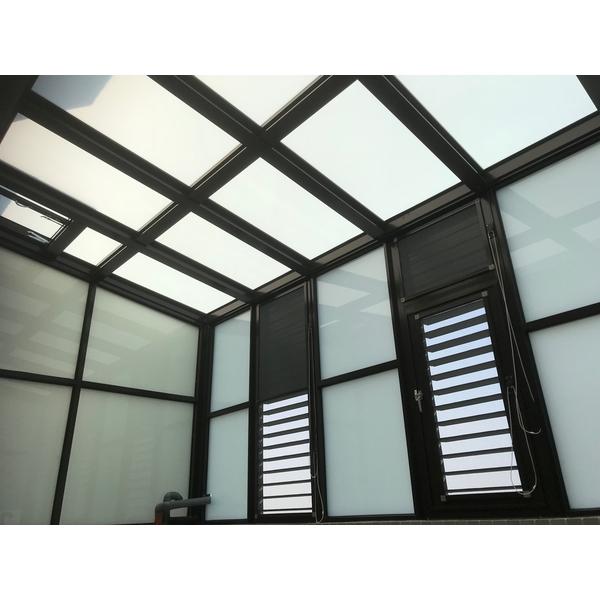 鋁格柵,H鋼安全玻璃採光罩4-長虹鋁業行-台南