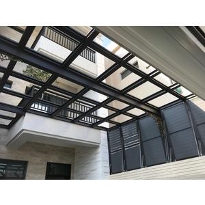 鋁格柵,H鋼安全玻璃採光罩6