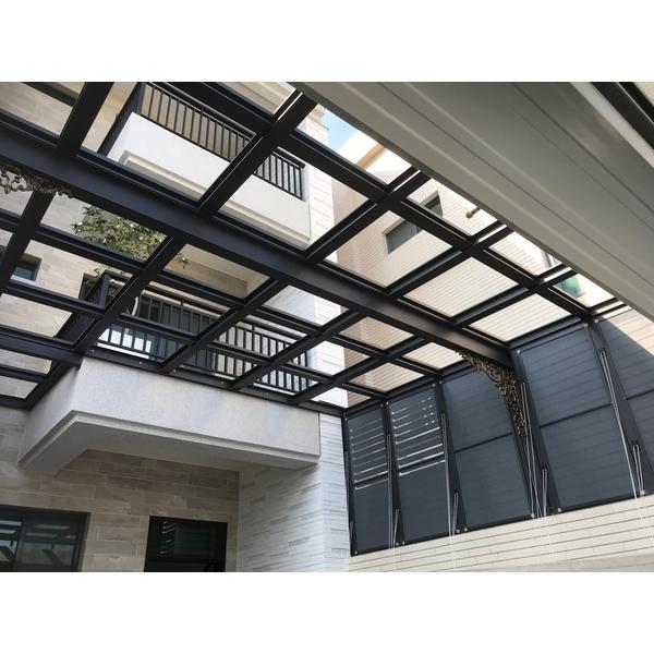 鋁格柵,H鋼安全玻璃採光罩6-長虹鋁業行-台南